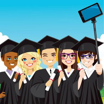 graduation-group-selfie-young-students-taking-photo-smartphone-stick-day-50270459